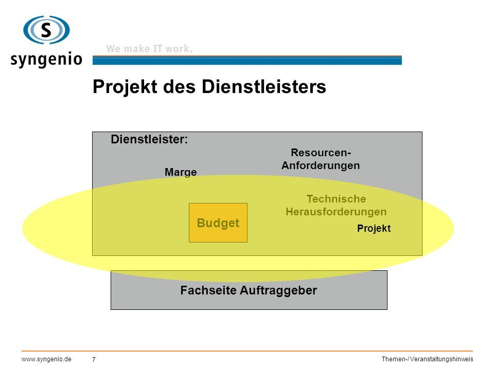 7 www.syngenio.deThemen-/ Veranstaltungshinweis Projekt des Dienstleisters Dienstleister: Technische Herausforderungen Marge Resourcen- Anforderungen