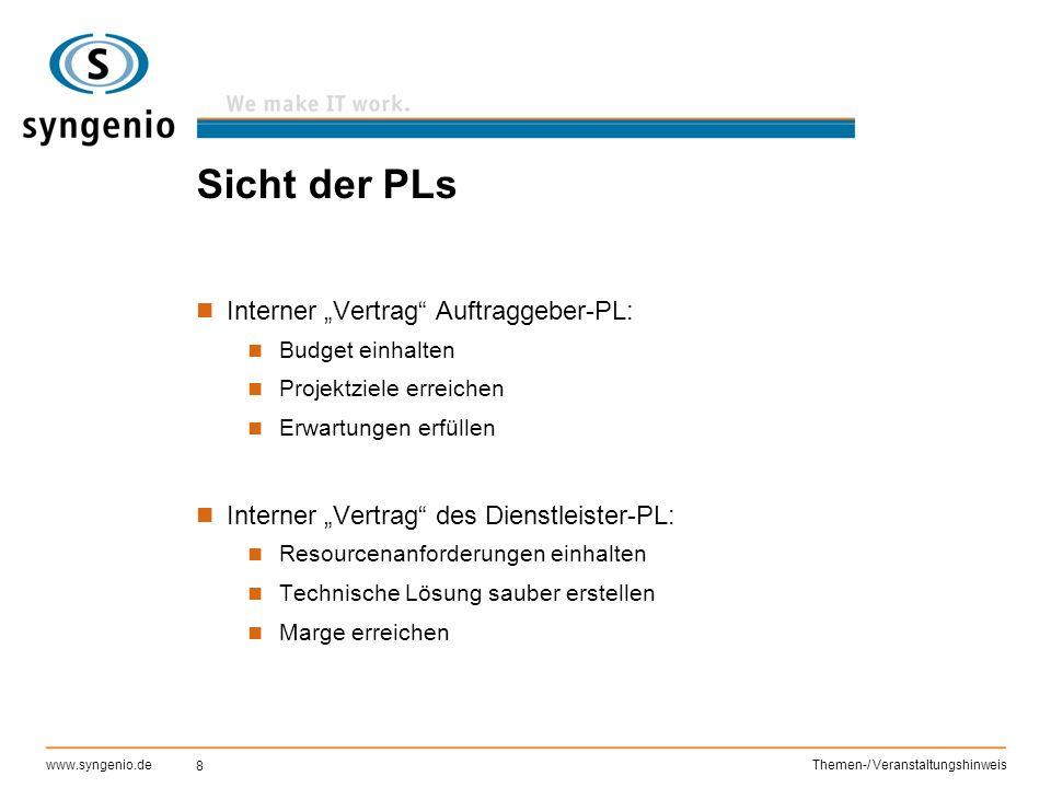 """8 www.syngenio.deThemen-/ Veranstaltungshinweis Sicht der PLs Interner """"Vertrag"""" Auftraggeber-PL: Budget einhalten Projektziele erreichen Erwartungen"""