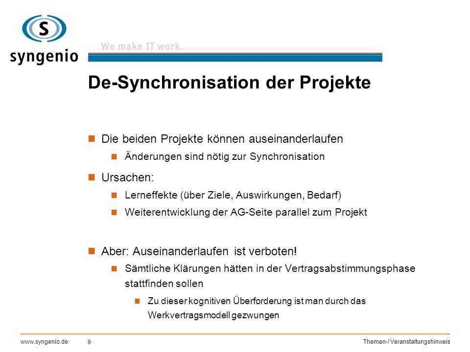 9 www.syngenio.deThemen-/ Veranstaltungshinweis De-Synchronisation der Projekte Die beiden Projekte können auseinanderlaufen Änderungen sind nötig zur