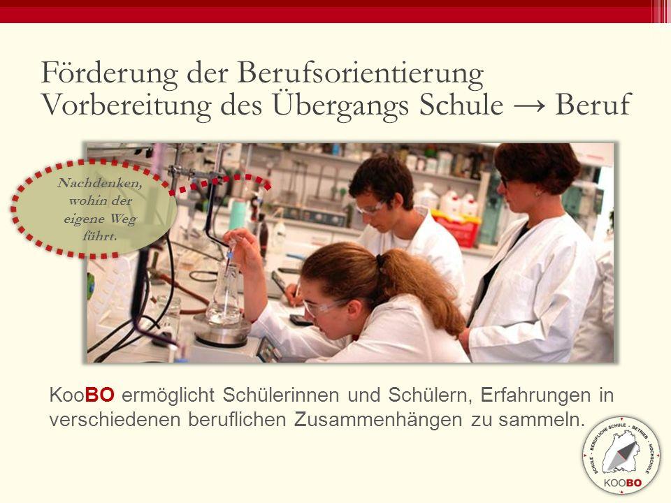Förderung der Berufsorientierung Vorbereitung des Übergangs Schule → Beruf KooBO ermöglicht Schülerinnen und Schülern, Erfahrungen in verschiedenen be