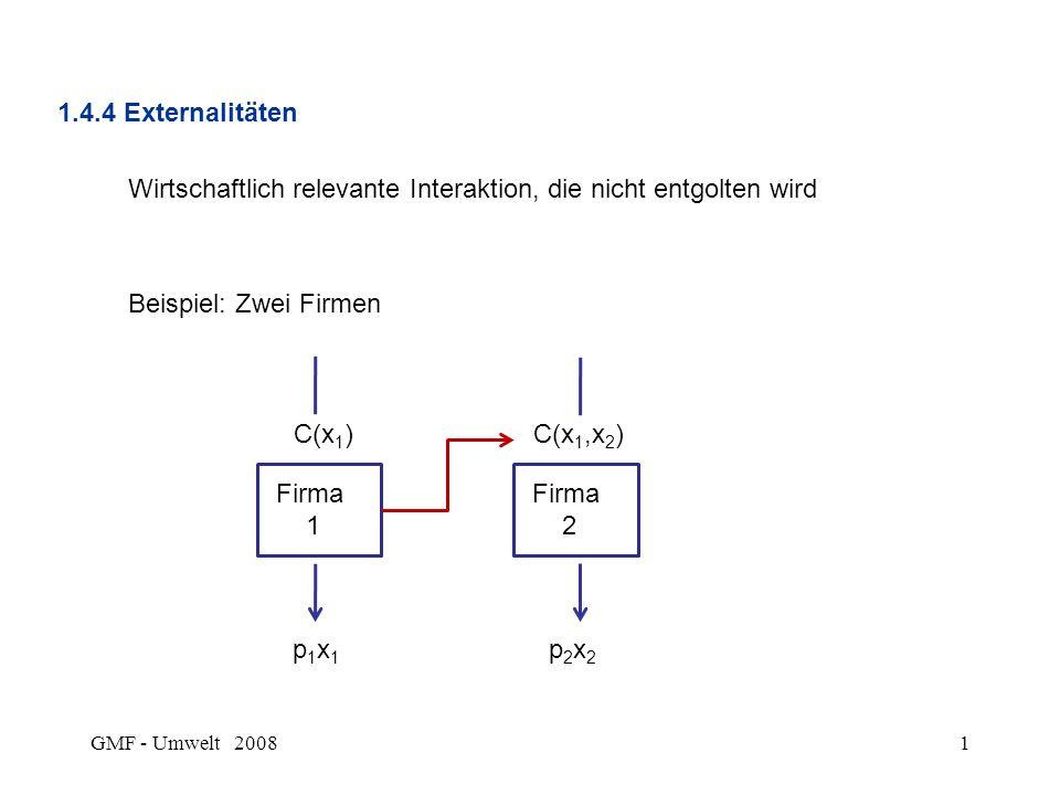 GMF - Umwelt 20081 1.4.4 Externalitäten Wirtschaftlich relevante Interaktion, die nicht entgolten wird Beispiel: Zwei Firmen Firma 1 Firma 2 C(x 1 )C(x 1,x 2 ) p1x1p1x1 p2x2p2x2