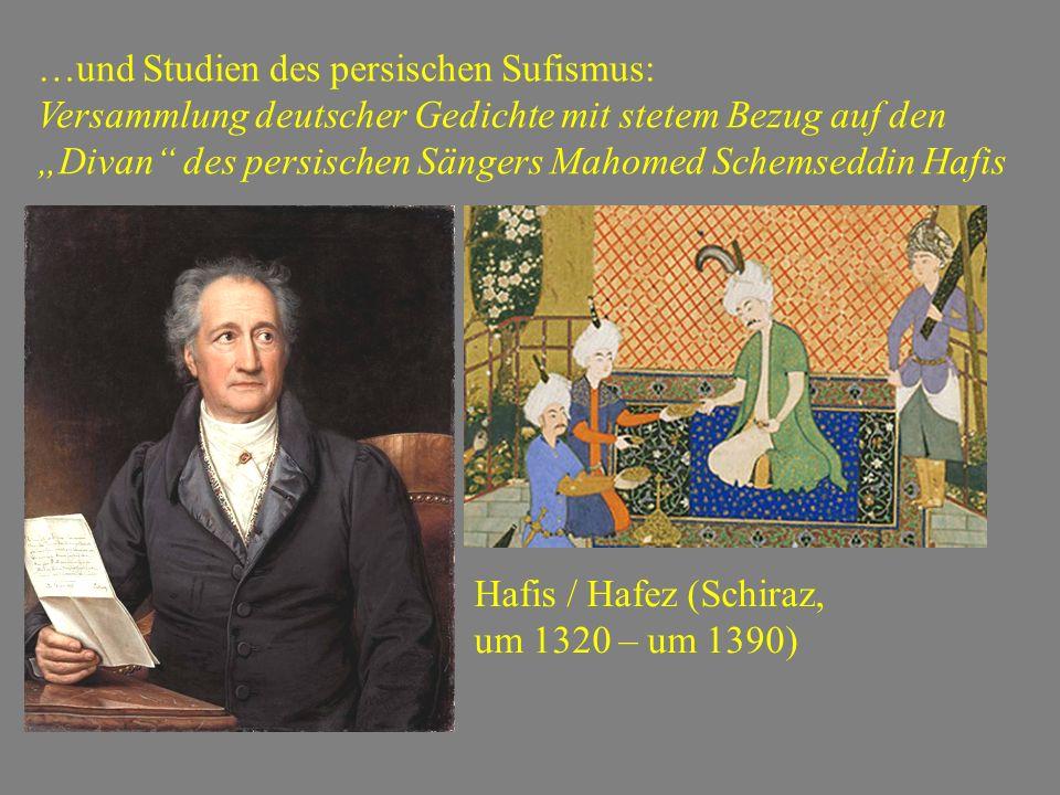 """…und Studien des persischen Sufismus: Versammlung deutscher Gedichte mit stetem Bezug auf den """"Divan des persischen Sängers Mahomed Schemseddin Hafis Hafis / Hafez (Schiraz, um 1320 – um 1390)"""