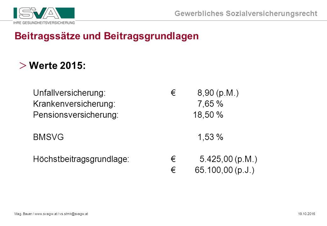 Gewerbliches Sozialversicherungsrecht Mag. Bauer / www.svagw.at / vs.stmk@svagw.at19.10.2015 Beitragssätze und Beitragsgrundlagen > Werte 2015: Unfall