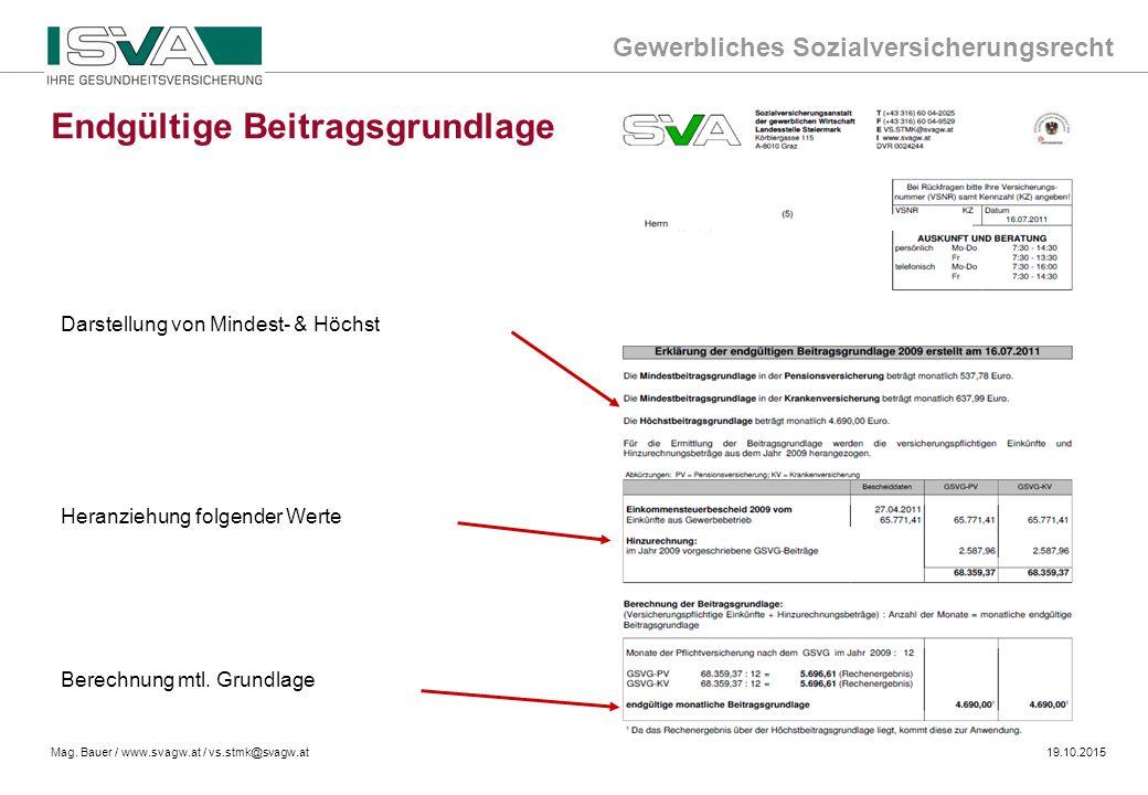 Gewerbliches Sozialversicherungsrecht Mag. Bauer / www.svagw.at / vs.stmk@svagw.at19.10.2015 Darstellung von Mindest- & Höchst Heranziehung folgender