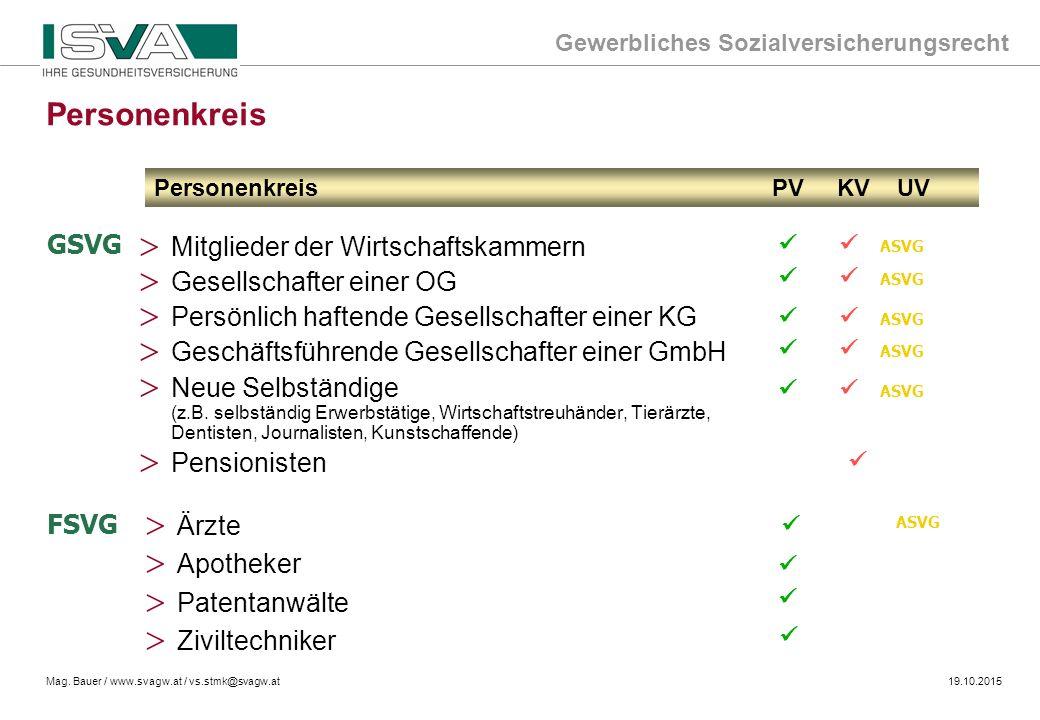 Gewerbliches Sozialversicherungsrecht Mag. Bauer / www.svagw.at / vs.stmk@svagw.at19.10.2015 > Mitglieder der Wirtschaftskammern > Gesellschafter eine