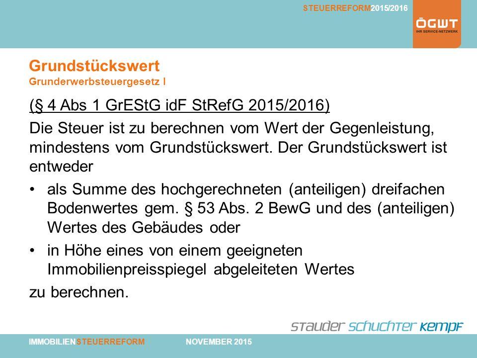 IMMOBILIENSTEUERREFORM NOVEMBER 2015 STEUERREFORM2015/2016 Grundstückswert Grunderwerbsteuergesetz I (§ 4 Abs 1 GrEStG idF StRefG 2015/2016) Die Steue