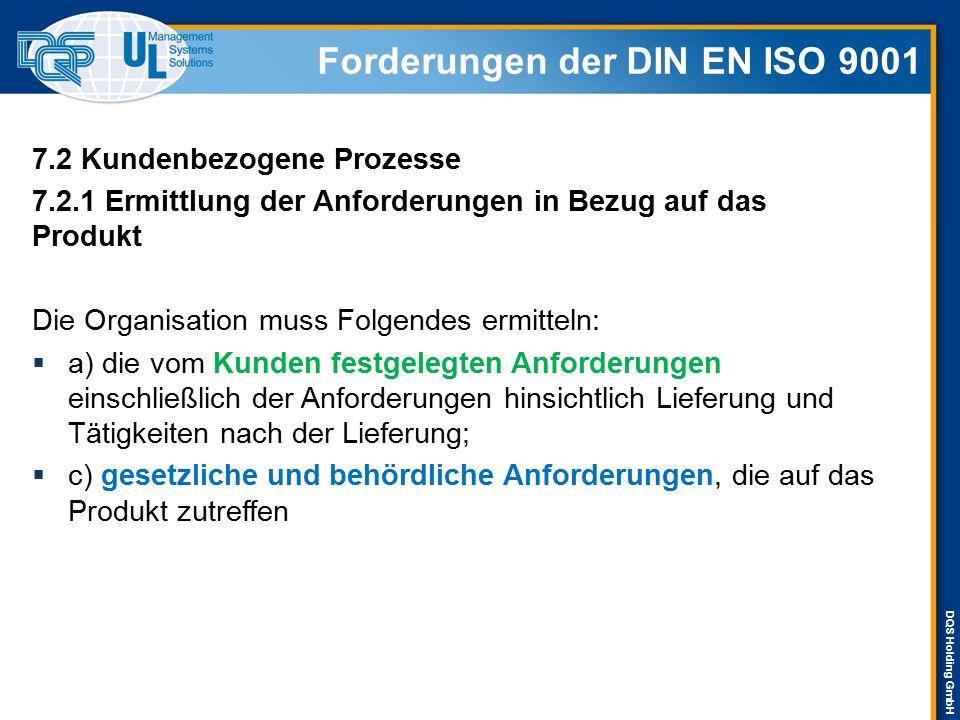 DQS Holding GmbH 7.2 Kundenbezogene Prozesse 7.2.1 Ermittlung der Anforderungen in Bezug auf das Produkt Die Organisation muss Folgendes ermitteln: 