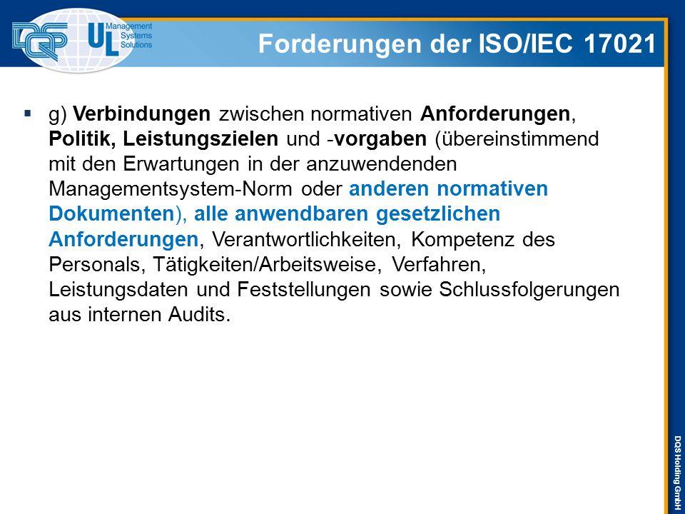 DQS Holding GmbH Forderungen der ISO/IEC 17021  g) Verbindungen zwischen normativen Anforderungen, Politik, Leistungszielen und -vorgaben (übereinsti