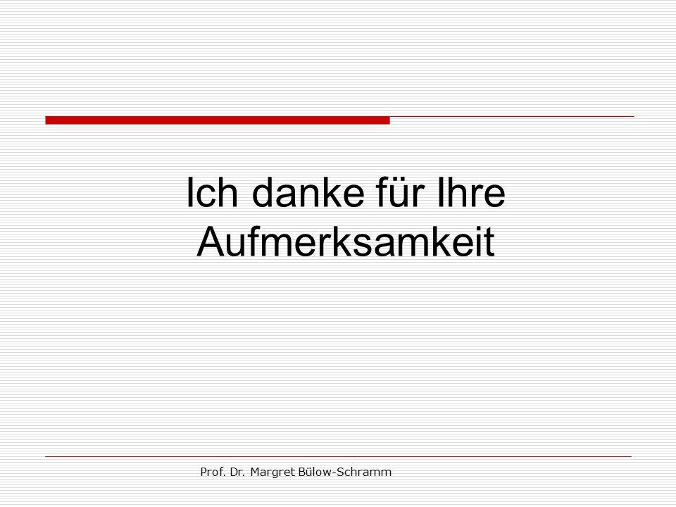 Prof. Dr. Margret Bülow-Schramm Ich danke für Ihre Aufmerksamkeit