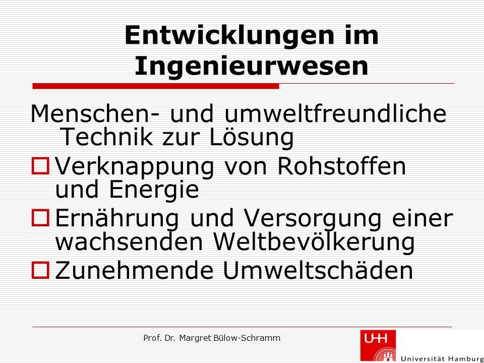 Prof. Dr. Margret Bülow-Schramm Entwicklungen im Ingenieurwesen Menschen- und umweltfreundliche Technik zur Lösung  Verknappung von Rohstoffen und En