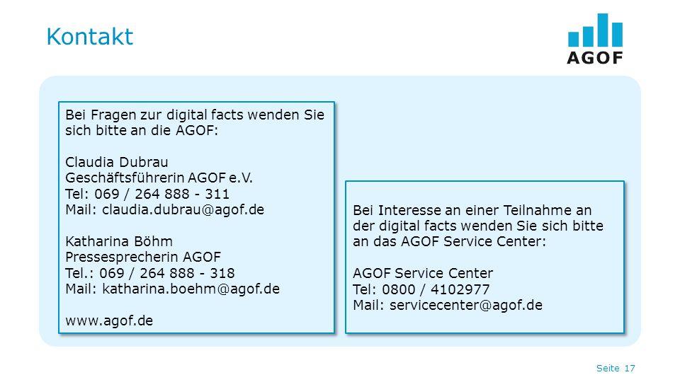 Seite 17 Kontakt Bei Fragen zur digital facts wenden Sie sich bitte an die AGOF: Claudia Dubrau Geschäftsführerin AGOF e.V. Tel: 069 / 264 888 - 311 M