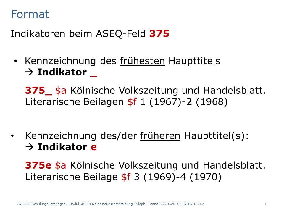In ALEPH: Frühester Haupttitel – Früherer Haupttitel AG RDA Schulungsunterlagen – Modul 5B.09: Keine neue Beschreibung | Aleph | Stand: 22.10.2015 | CC BY-NC-SA27