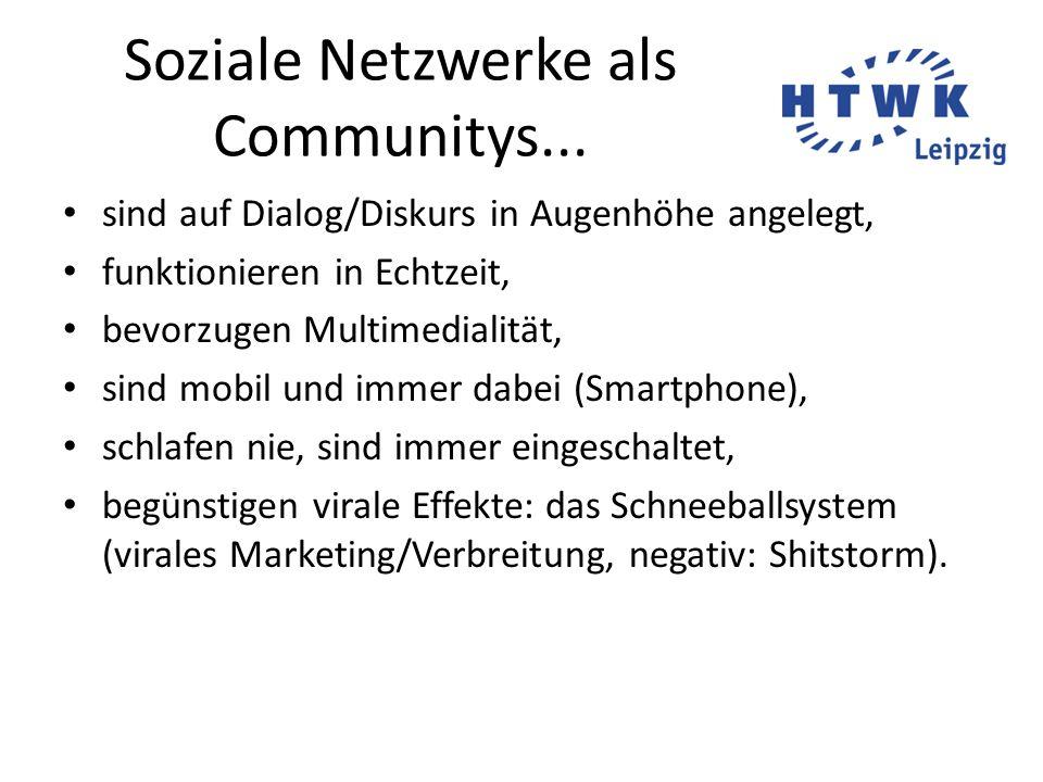 Soziale Netzwerke als Communitys... sind auf Dialog/Diskurs in Augenhöhe angelegt, funktionieren in Echtzeit, bevorzugen Multimedialität, sind mobil u