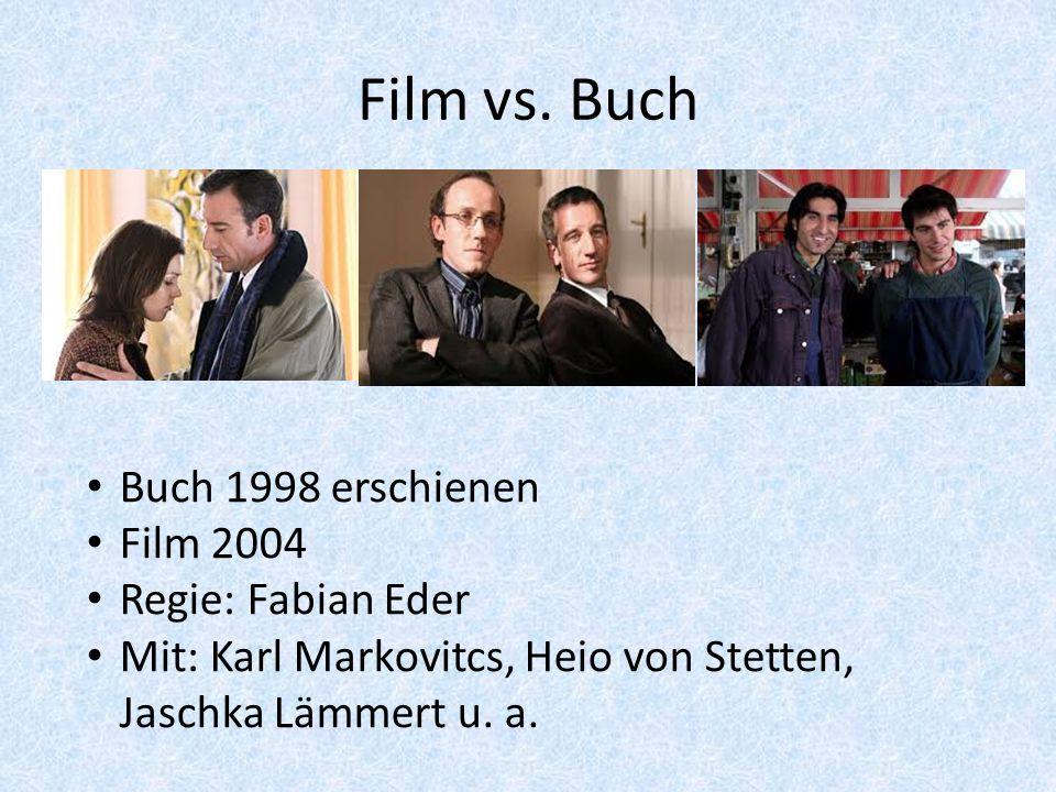 Film vs. Buch Buch 1998 erschienen Film 2004 Regie: Fabian Eder Mit: Karl Markovitcs, Heio von Stetten, Jaschka Lämmert u. a.