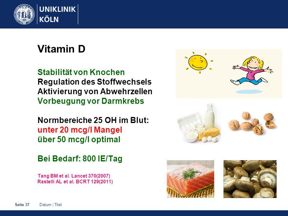 Datum | TitelSeite 37 Vitamin D Stabilität von Knochen Regulation des Stoffwechsels Aktivierung von Abwehrzellen Vorbeugung vor Darmkrebs Normbereiche 25 OH im Blut: unter 20 mcg/l Mangel über 50 mcg/l optimal Bei Bedarf: 800 IE/Tag Tang BM et al.