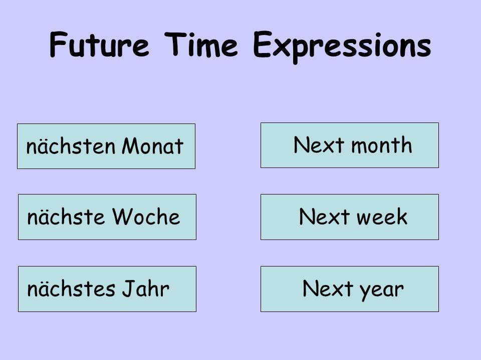Future Time Expressions nächsten Monat Next month nächste WocheNext week nächstes JahrNext year