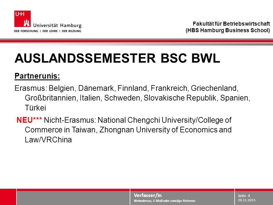 Verfasser/in Webadresse, E-Mail oder sonstige Referenz AUSLANDSSEMESTER BSC BWL Partnerunis: Erasmus: Belgien, Dänemark, Finnland, Frankreich, Grieche