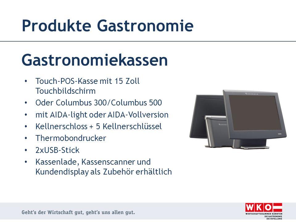 Produkte Gastronomie Gastronomiekassen Touch-POS-Kasse mit 15 Zoll Touchbildschirm Oder Columbus 300/Columbus 500 mit AIDA-light oder AIDA-Vollversion