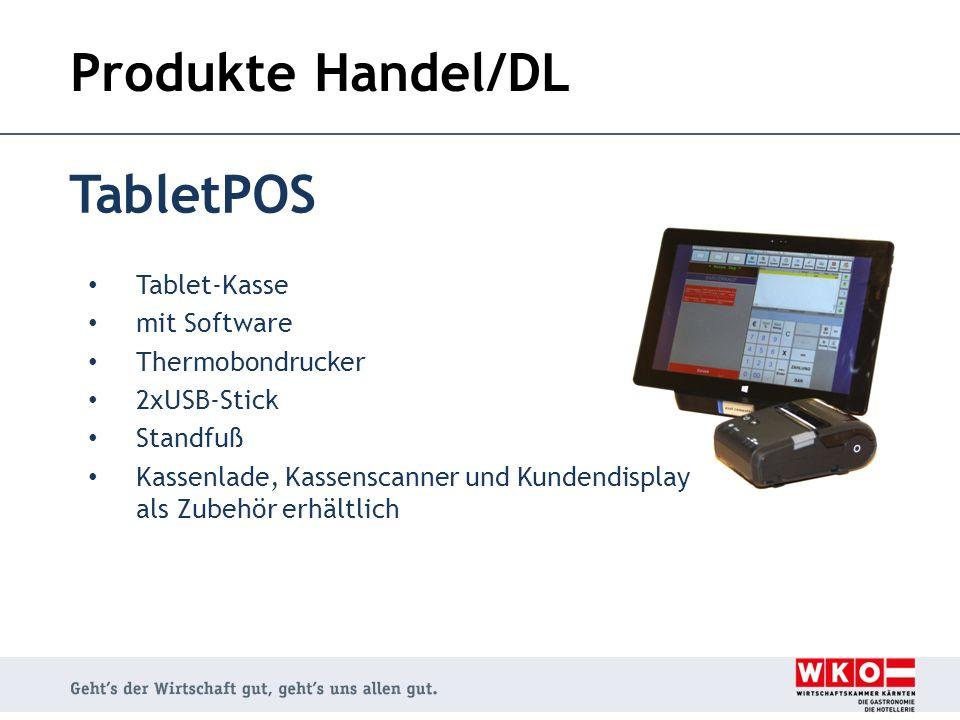 Produkte Handel/DL TabletPOS Tablet-Kasse mit Software Thermobondrucker 2xUSB-Stick Standfuß Kassenlade, Kassenscanner und Kundendisplay als Zubehör e