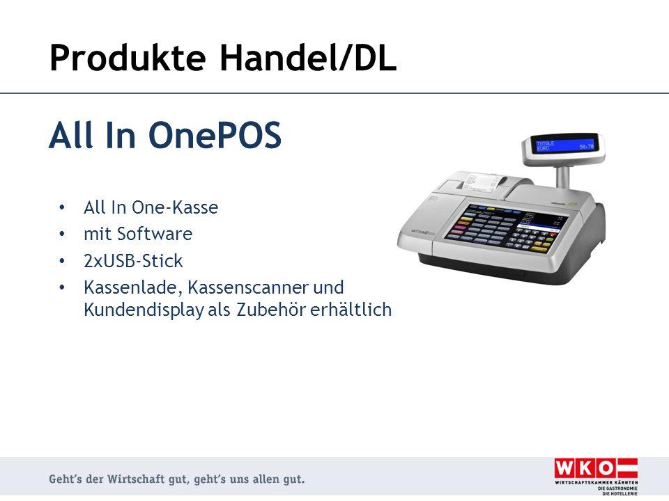 Produkte Handel/DL All In OnePOS All In One-Kasse mit Software 2xUSB-Stick Kassenlade, Kassenscanner und Kundendisplay als Zubehör erhältlich