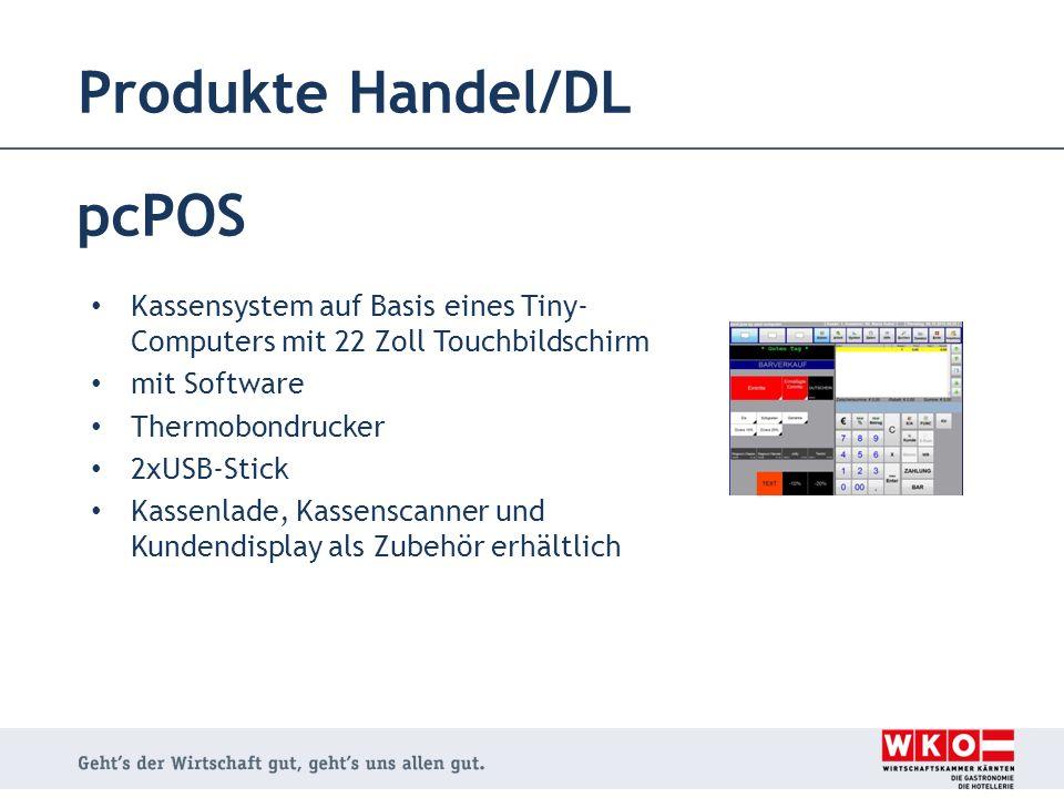 Produkte Handel/DL pcPOS Kassensystem auf Basis eines Tiny- Computers mit 22 Zoll Touchbildschirm mit Software Thermobondrucker 2xUSB-Stick Kassenlade