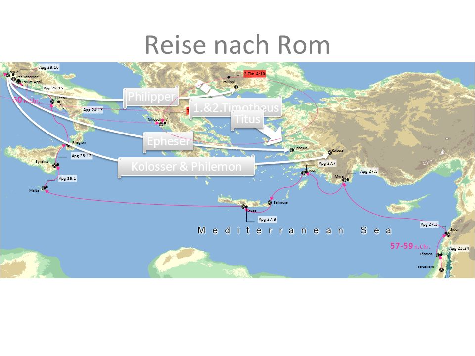Reise nach Rom Cäsarea Jerusalem Salmone Lasäa Malta Syrakus Rhegion Puteoli Rom Tres-Tabernae Forum Appii Sidon Myra Knidos 57-59 n.Chr. 60 n.Chr. Ap