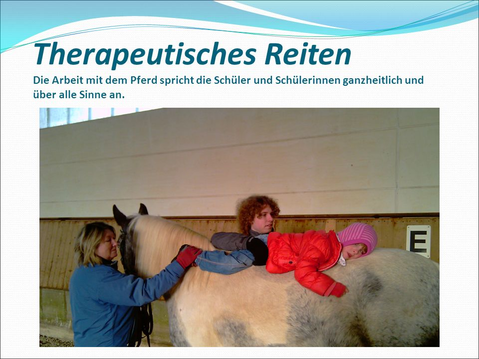 Therapeutisches Reiten Die Arbeit mit dem Pferd spricht die Schüler und Schülerinnen ganzheitlich und über alle Sinne an.