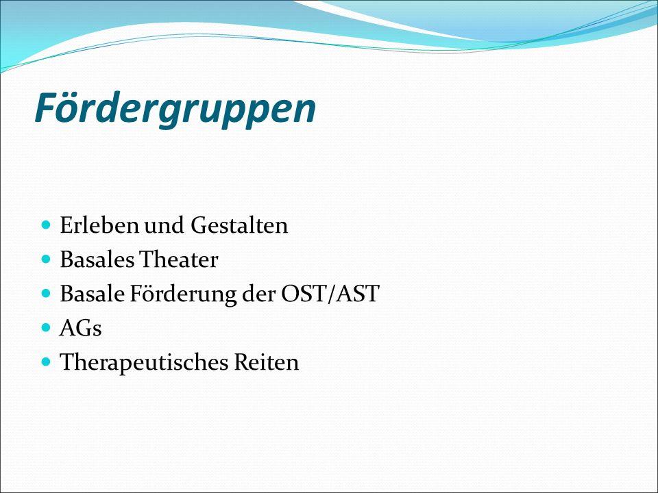 Fördergruppen Erleben und Gestalten Basales Theater Basale Förderung der OST/AST AGs Therapeutisches Reiten