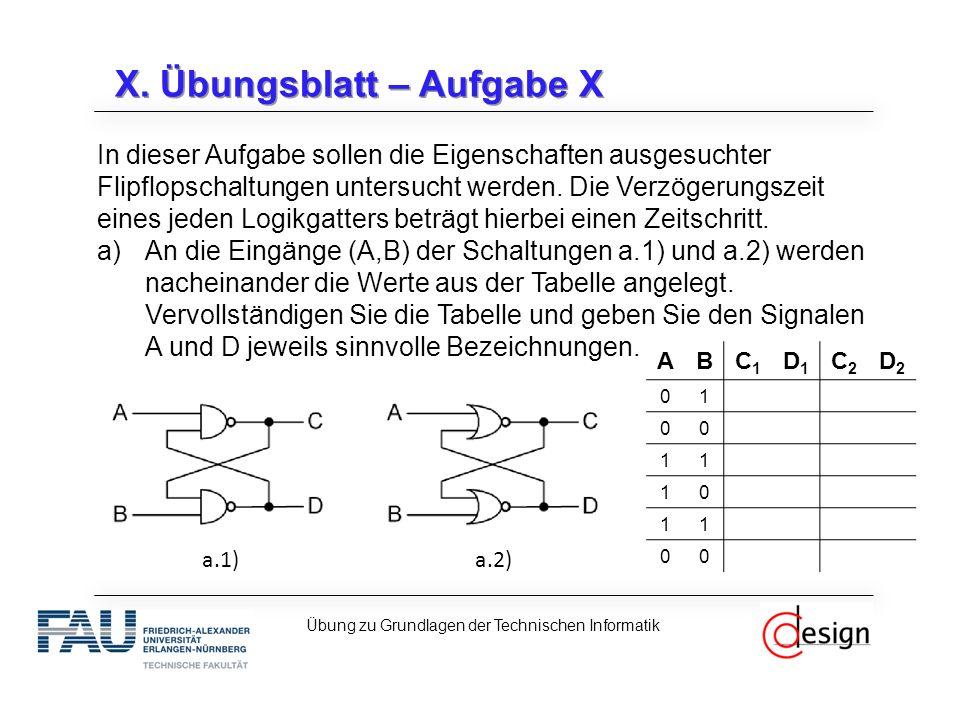 X. Übungsblatt – Aufgabe X In dieser Aufgabe sollen die Eigenschaften ausgesuchter Flipflopschaltungen untersucht werden. Die Verzögerungszeit eines j