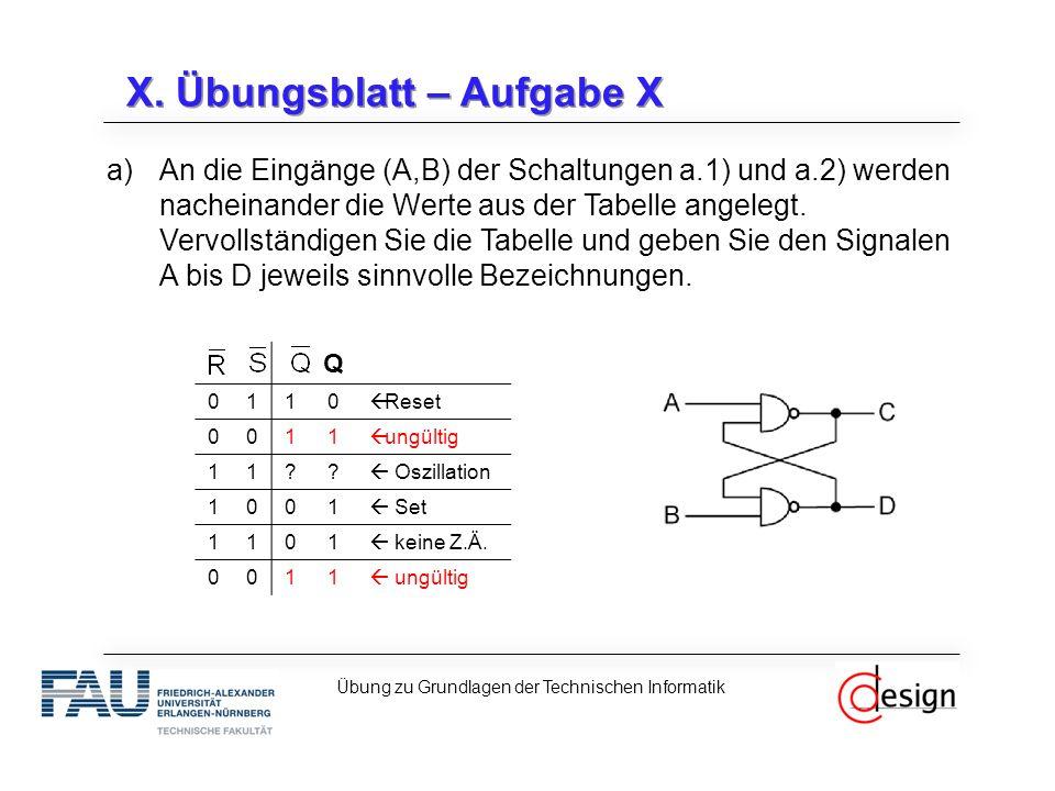 X. Übungsblatt – Aufgabe X a)An die Eingänge (A,B) der Schaltungen a.1) und a.2) werden nacheinander die Werte aus der Tabelle angelegt. Vervollständi