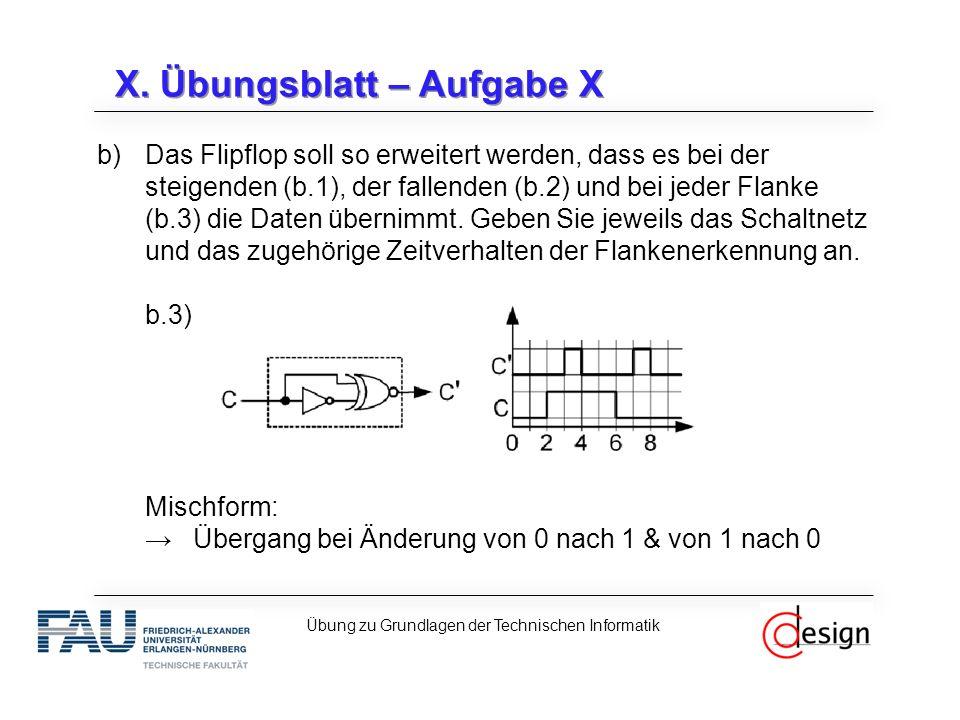 X. Übungsblatt – Aufgabe X b)Das Flipflop soll so erweitert werden, dass es bei der steigenden (b.1), der fallenden (b.2) und bei jeder Flanke (b.3) d