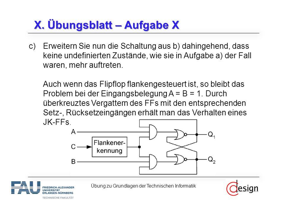 X. Übungsblatt – Aufgabe X c)Erweitern Sie nun die Schaltung aus b) dahingehend, dass keine undefinierten Zustände, wie sie in Aufgabe a) der Fall war