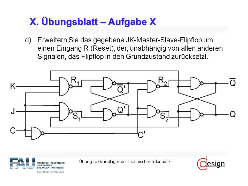 X. Übungsblatt – Aufgabe X d)Erweitern Sie das gegebene JK-Master-Slave-Flipflop um einen Eingang R (Reset), der, unabhängig von allen anderen Signale