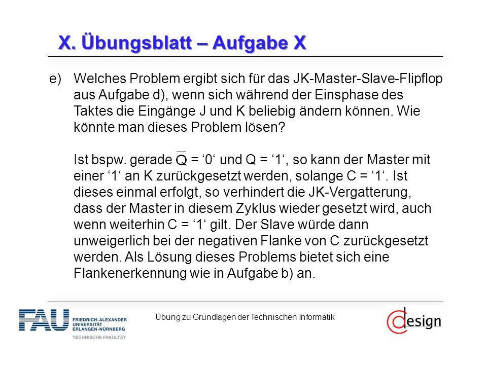 X. Übungsblatt – Aufgabe X e)Welches Problem ergibt sich für das JK-Master-Slave-Flipflop aus Aufgabe d), wenn sich während der Einsphase des Taktes d