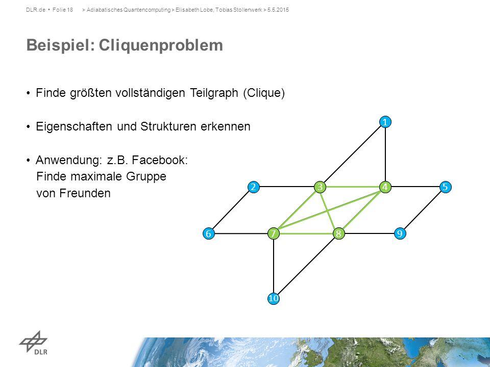 Beispiel: Cliquenproblem DLR.de Folie 18> Adiabatisches Quantencomputing > Elisabeth Lobe, Tobias Stollenwerk > 5.5.2015 Finde größten vollständigen T