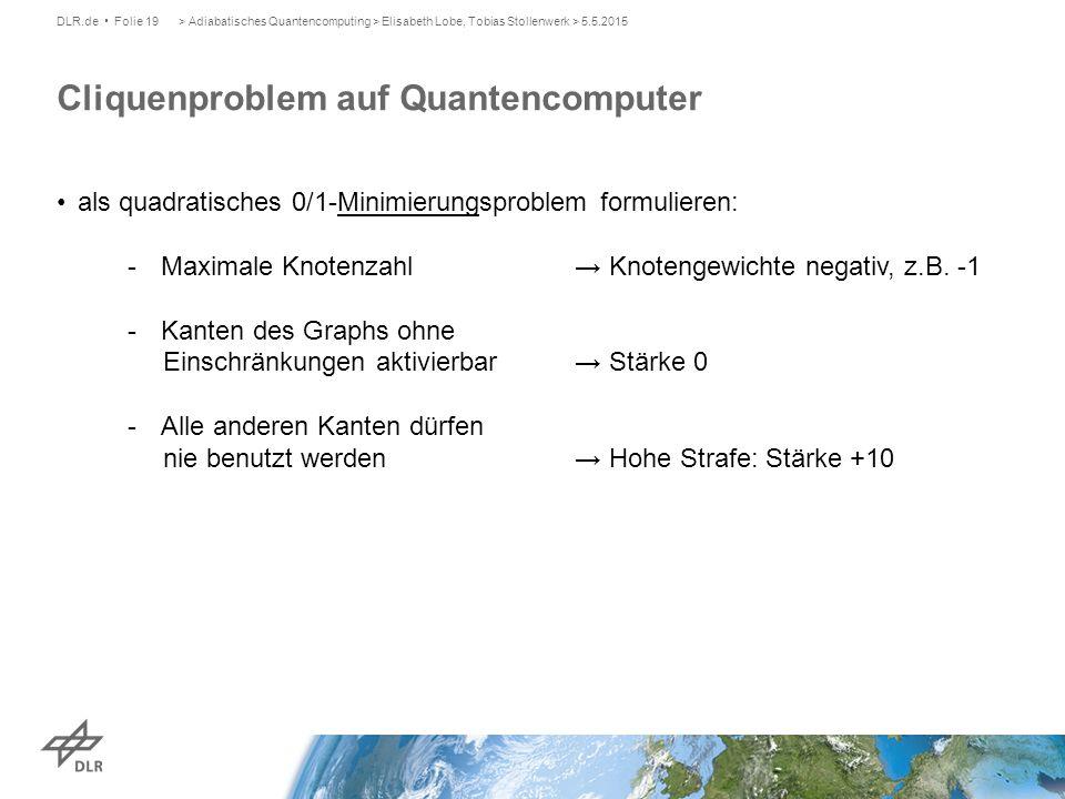 Cliquenproblem auf Quantencomputer DLR.de Folie 19> Adiabatisches Quantencomputing > Elisabeth Lobe, Tobias Stollenwerk > 5.5.2015 als quadratisches 0