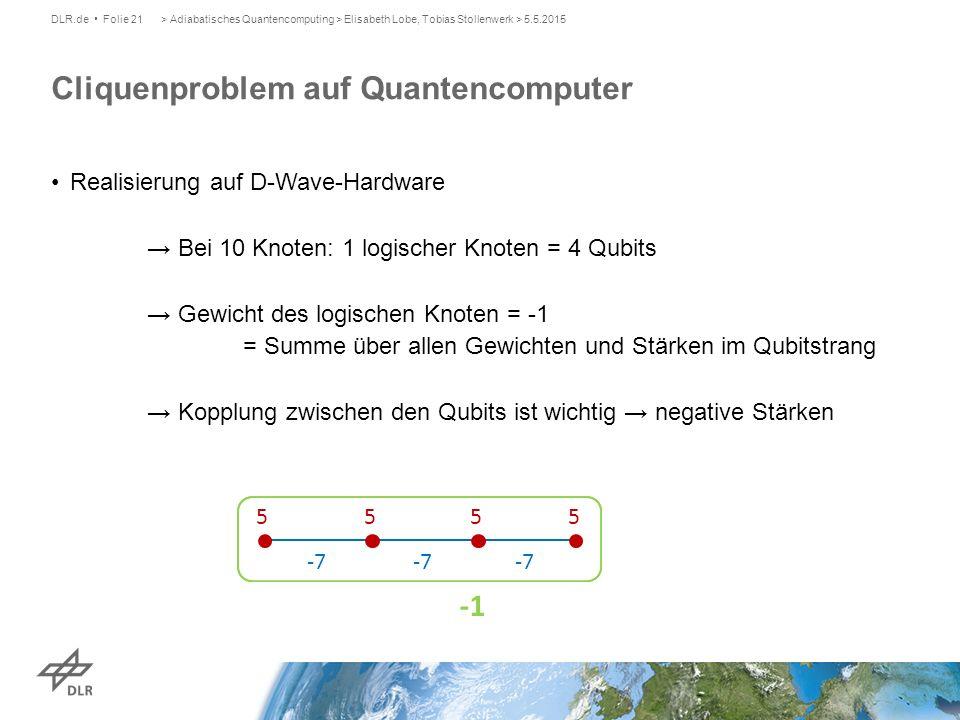 DLR.de Folie 21> Adiabatisches Quantencomputing > Elisabeth Lobe, Tobias Stollenwerk > 5.5.2015 Realisierung auf D-Wave-Hardware → Bei 10 Knoten: 1 lo
