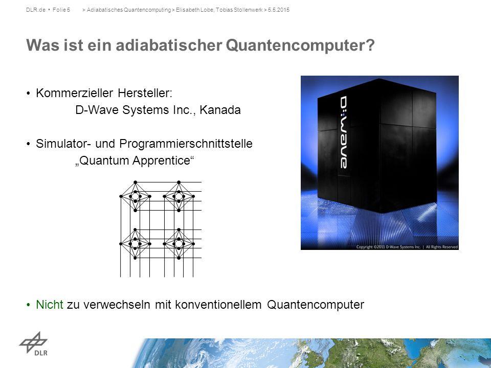 Quelle: D-Wave Systems > Adiabatisches Quantencomputing > Elisabeth Lobe, Tobias Stollenwerk > 5.5.2015DLR.de Folie 6 Adiabatischer Quantencomputer löst diskrete Optimierungsprobleme Zielfunktion: Gewichte Quelle: D-Wave Systems