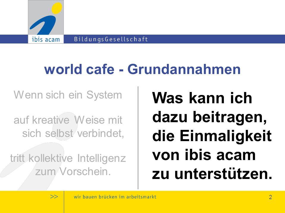 3 world cafe - Grundannahmen Kollektive Einsichten entstehen, wenn wir  den Beitrag jeder einzelnen Person würdigen  unsere Ideen miteinander verknüpfen  auf tiefer liegende Muster & Fragestellungen achten Was kann ich dazu beitragen, die Einmaligkeit von ibis acam zu unterstützen.