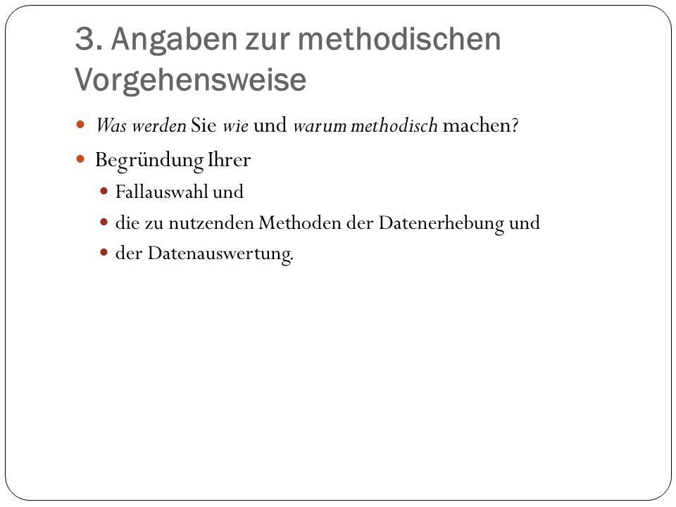3. Angaben zur methodischen Vorgehensweise Was werden Sie wie und warum methodisch machen? Begründung Ihrer Fallauswahl und die zu nutzenden Methoden
