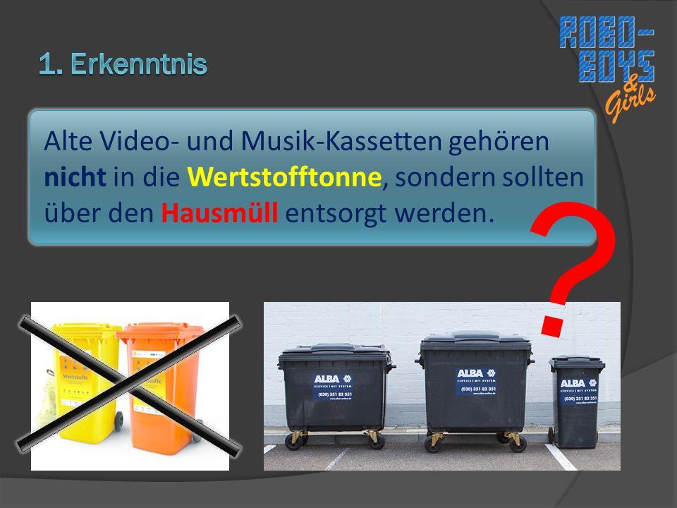 Alte Video- und Musik-Kassetten gehören nicht in die Wertstofftonne, sondern sollten über den Hausmüll entsorgt werden.