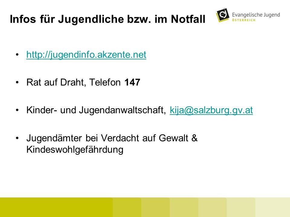 Infos für Jugendliche bzw. im Notfall http://jugendinfo.akzente.net Rat auf Draht, Telefon 147 Kinder- und Jugendanwaltschaft, kija@salzburg.gv.atkija