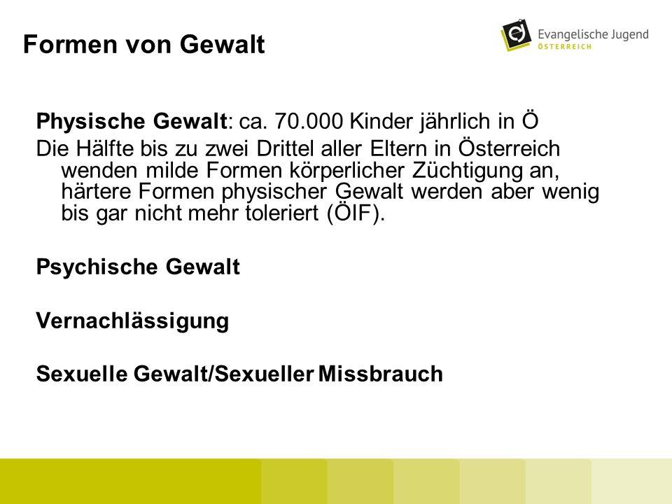 Formen von Gewalt Physische Gewalt: ca. 70.000 Kinder jährlich in Ö Die Hälfte bis zu zwei Drittel aller Eltern in Österreich wenden milde Formen körp