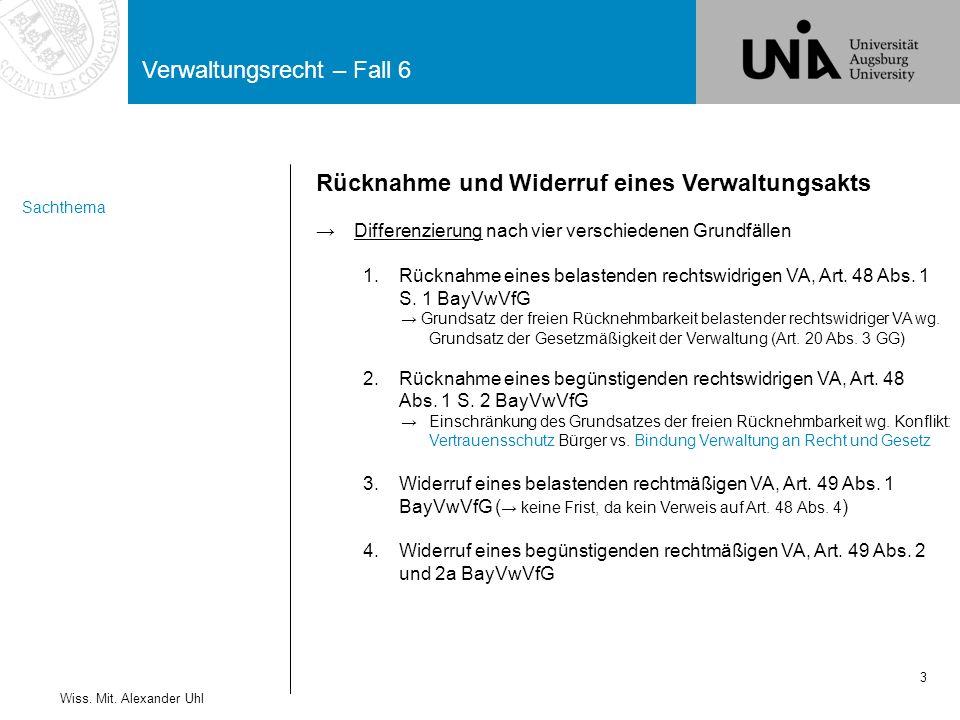 Verwaltungsrecht – Fall 6 3 Wiss. Mit. Alexander Uhl Rücknahme und Widerruf eines Verwaltungsakts →Differenzierung nach vier verschiedenen Grundfällen