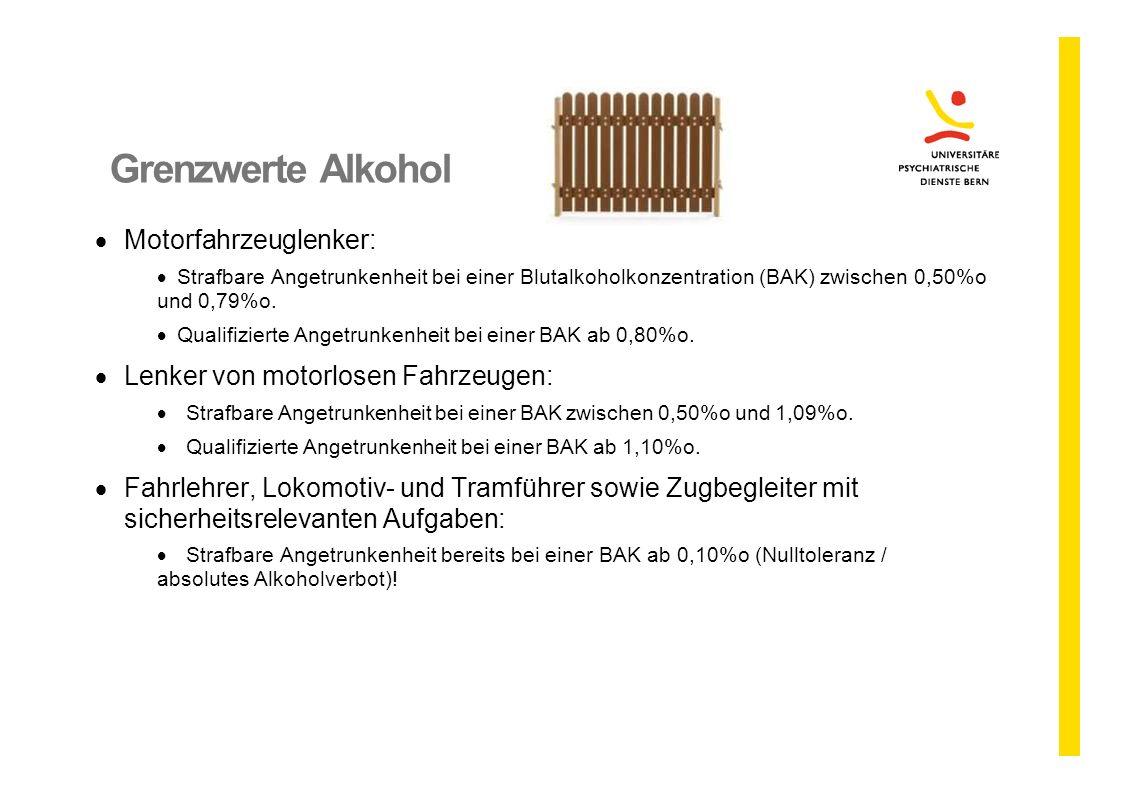 Grenzwerte Alkohol  Motorfahrzeuglenker:  Strafbare Angetrunkenheit bei einer Blutalkoholkonzentration (BAK) zwischen 0,50%o und 0,79%o.  Qualifizi