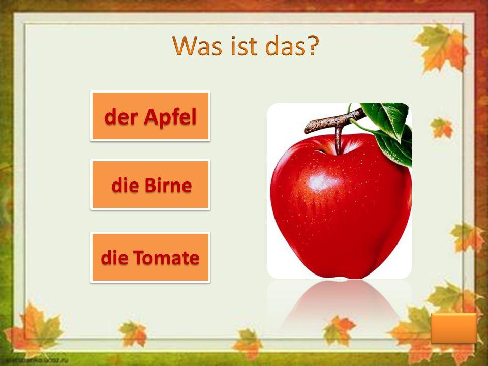 der Apfel der Apfel der Apfel der Apfel die Birne die Birne die Birne die Birne die Tomate die Tomate die Tomate die Tomate