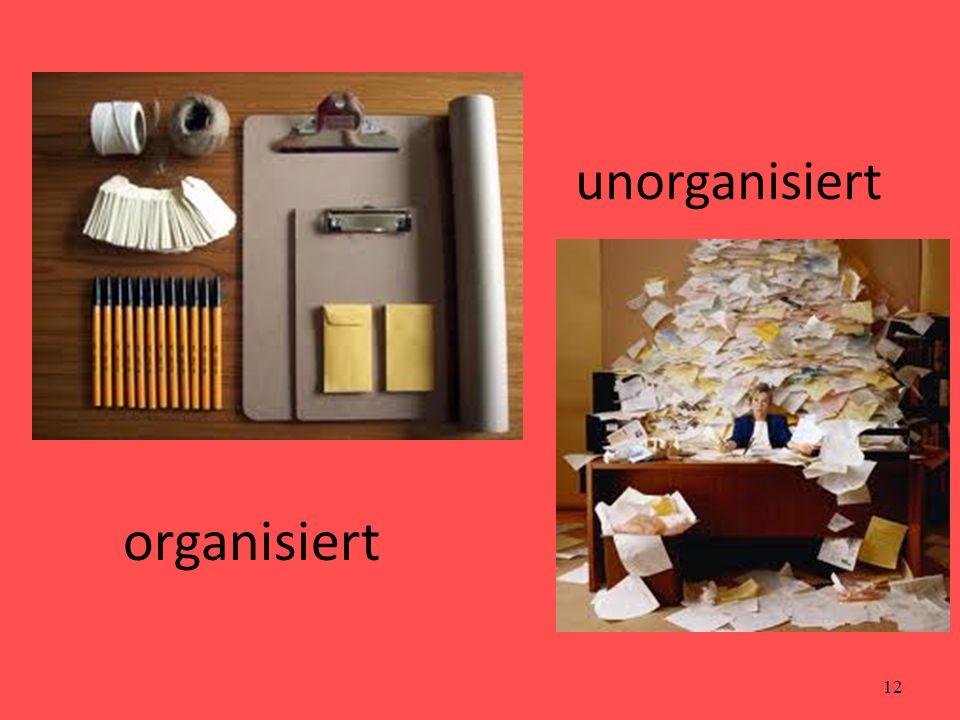 12 organisiert unorganisiert