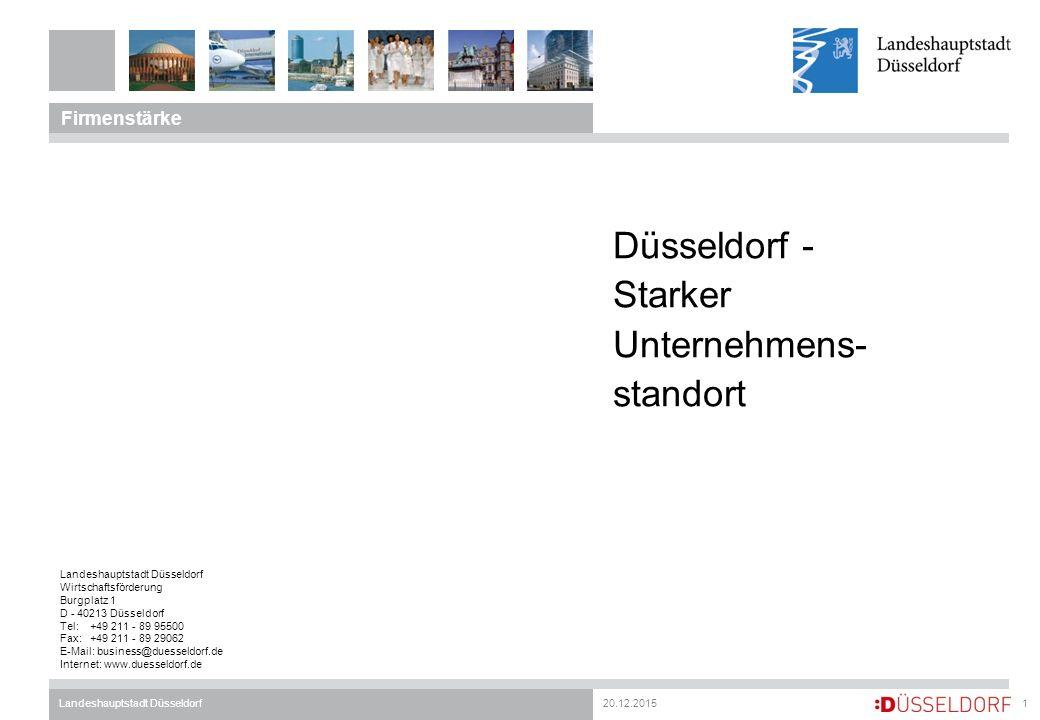 20.12.2015Landeshauptstadt Düsseldorf Firmenstärke 1 Düsseldorf - Starker Unternehmens- standort Landeshauptstadt Düsseldorf Wirtschaftsförderung Burgplatz 1 D - 40213 Düsseldorf Tel:+49 211 - 89 95500 Fax:+49 211 - 89 29062 E-Mail: business@duesseldorf.de Internet: www.duesseldorf.de