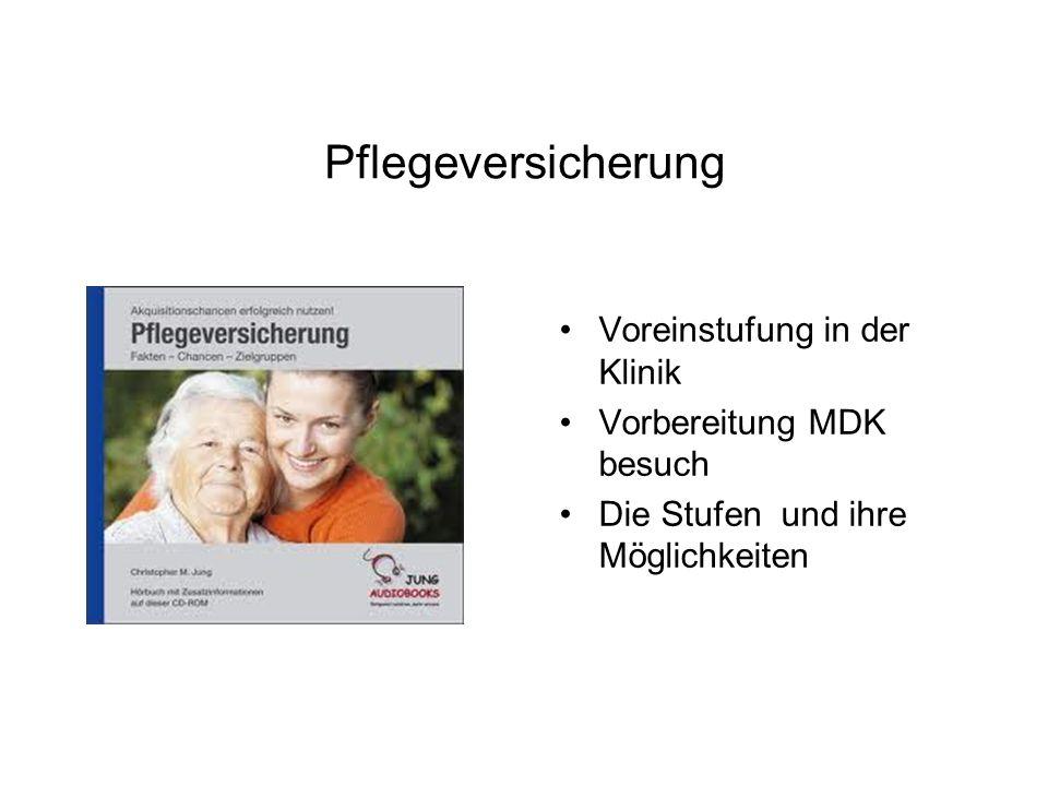 Pflegeversicherung Voreinstufung in der Klinik Vorbereitung MDK besuch Die Stufen und ihre Möglichkeiten