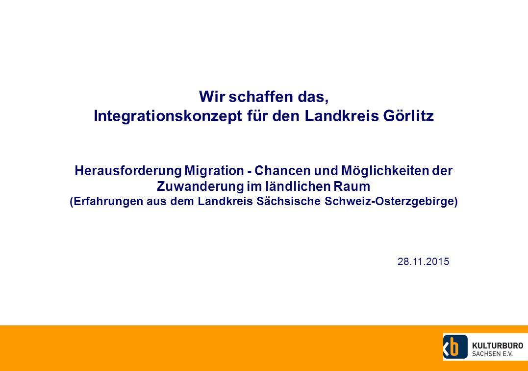 Wir schaffen das, Integrationskonzept für den Landkreis Görlitz Herausforderung Migration - Chancen und Möglichkeiten der Zuwanderung im ländlichen Raum (Erfahrungen aus dem Landkreis Sächsische Schweiz-Osterzgebirge) 28.11.2015